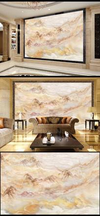巍峨山脉山水大理石画高温微晶石瓷砖背景墙
