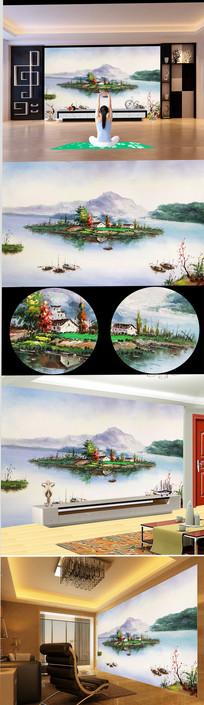 高山宝岛渔夫油画图