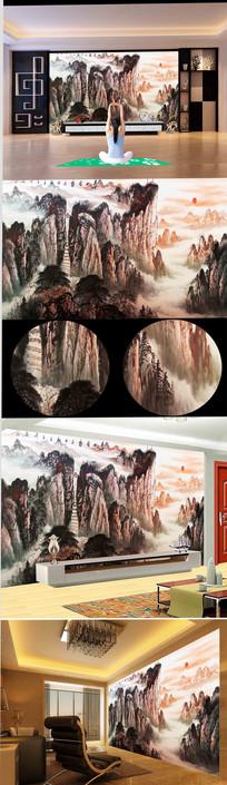 泰山日出油画背景墙