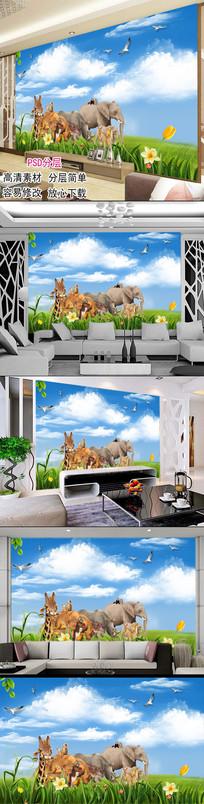 3D背景墙动物世界儿童房背景墙