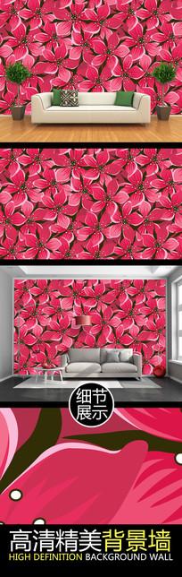 红色艳丽花朵艺术图案PSD装饰背景墙