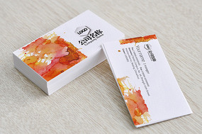 时尚橙色水彩水墨艺术名片 PSD