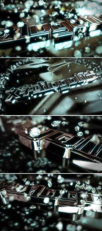震撼金属质感粒子钻石logo标志开场片头模板