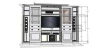 白色电视柜模型