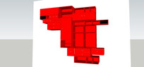 红色墙面多格收纳柜