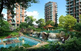 现代高层小区中式庭院景观