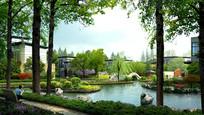 现代住宅休闲水景景观jpg