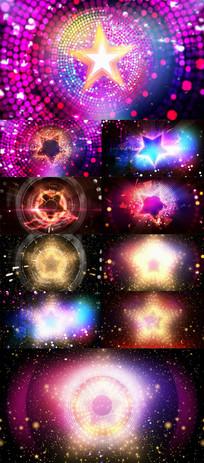 多组星星舞台灯光秀大屏背景视频素材