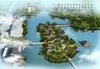 古典湖中小岛公园景观