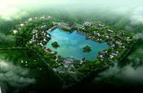 环湖中式建筑小区鸟瞰