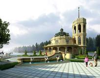 欧式城堡主题公园 PSD
