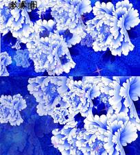 青花瓷花朵飘扬唯美视频