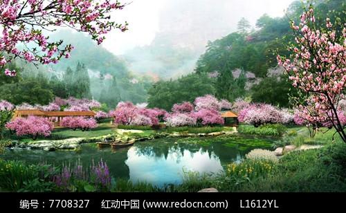山水乡村江景图片