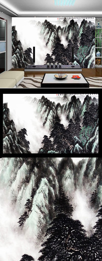 水墨山河壮丽风景画背景墙