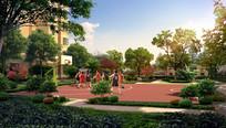 小区篮球场小公园景观