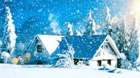 雪地小屋雪花飘飘圣诞视频