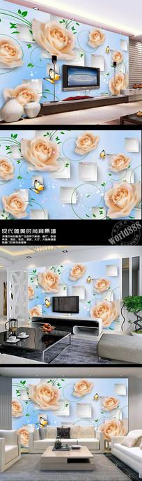 淡雅白玫瑰立体方块3D时尚背景墙