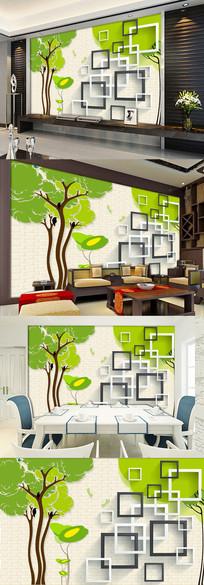手绘抽象树枝3d立体电视背景墙