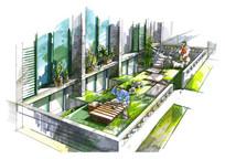 别墅庭院空间手绘