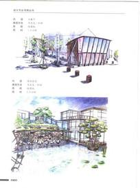 滨水住宅景观手绘