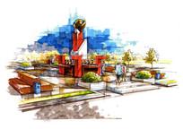 彩色广场创意雕塑