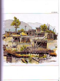 汶川古寨小镇建筑手绘