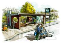 创意公交站台景观手绘