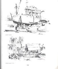 船只黑白线稿手绘