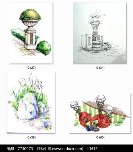 雕塑小品手绘图jpg素材下载_手绘素材设计图片