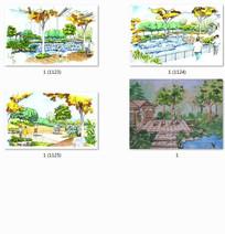 公园景观效果图手绘