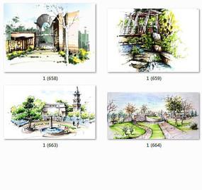 公园特色景观设计手绘 JPG