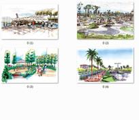 广场水景设计手绘效果图