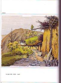 古镇小路景观手绘