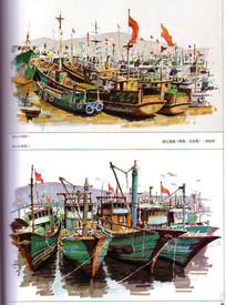 海港船只手绘