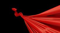 红色丝带红绸国庆典礼通道视频