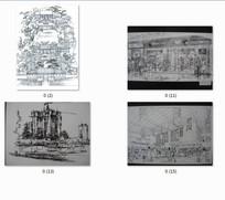 建筑景观手绘透视图线稿