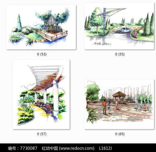 廊架亭子景观设计手绘图
