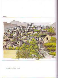 理县藏寨建筑景观手绘