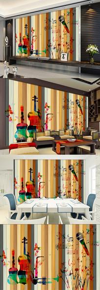 木条水彩乐器中式电视背景墙