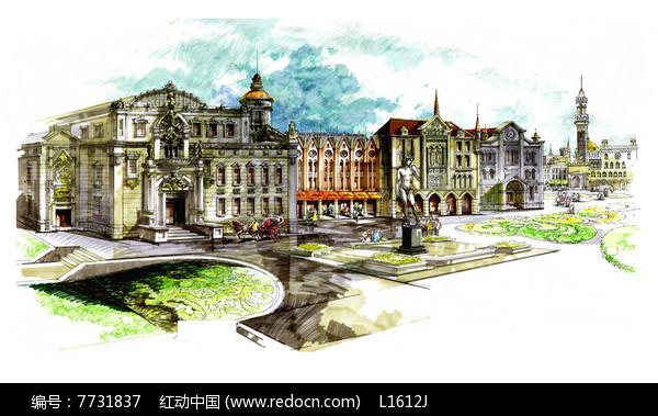 欧式建筑城堡手绘景观JPG素材下载 编号7731837 红动网