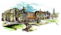 欧式建筑城堡手绘景观