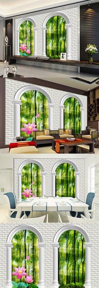 欧式罗马柱风景荷花电视背景墙