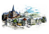 欧式小镇建筑特色景观手绘