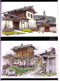 若尔盖郎木寺建筑手绘