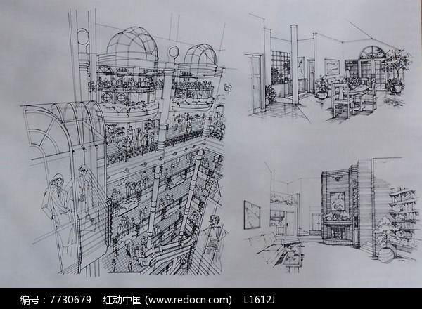 商场建筑室内透视图