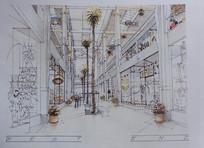 商场室内手绘效果图