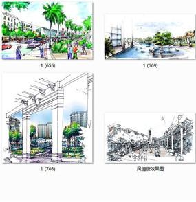 商业街景观手绘透视图