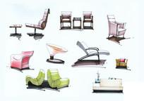 室内简单的椅子手绘效果图 JPG