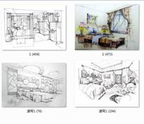 室内卧室设计手绘透视图