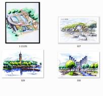 手绘水景广场景观效果图